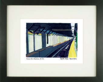 Canal Street Station, New York City, With Frame of Choice, Matted, and Signed Art Print
