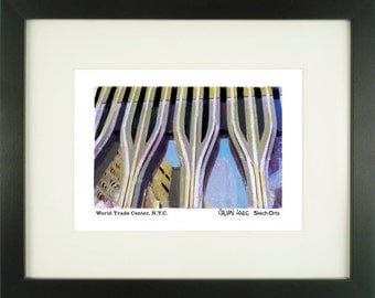 World Trade Center, New York City, With Frame of Choice, Matted, and Signed Art Print