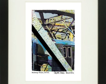 MTA Train, New York City, With Frame of Choice, Matted, and Signed Art Print