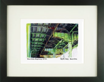 West Side Highway 2, New York City, With Frame of Choice, Matted, and Signed Art Print