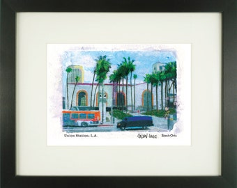 Union Station, Los Angeles, With Frame of Choice, Matted, and Signed Art Print
