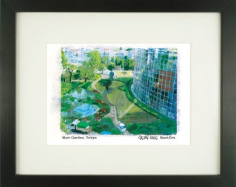 Mori Garden, Tokyo, Japan, With Frame of Choice, Matted, and Signed Art Print