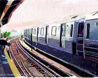 D Train in Brooklyn, New York City, Signed Art Print