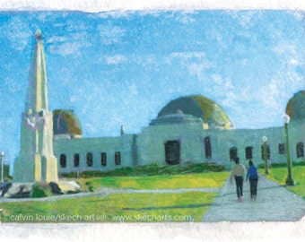Griffith Observatory, Los Angeles, Signed Art Print