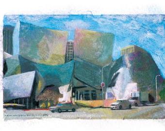 Walt Disney Concert Hall, Los Angeles, Signed Art Print