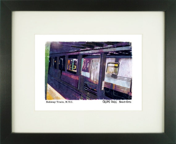 Subway Car, New York City, With Frame of Choice, Matted, and Signed Art Print
