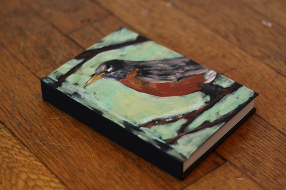 """Blank Sketchbook 4""""x6"""" with Hand Painted Cover Bird"""