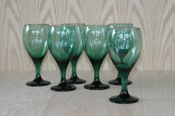 Vintage Green Glasses, Set of Six