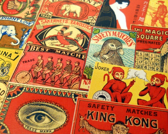 Matchbox Labels - 15 Reproduction Vintage Labels - Roaring Twenties, King Kong, Smoking Monkeys, Birds, Circus Animals, Sticker Pack