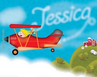 Personalized Children Wall Decor Custom Art Print - Plane and Skywriting Digital Illustration