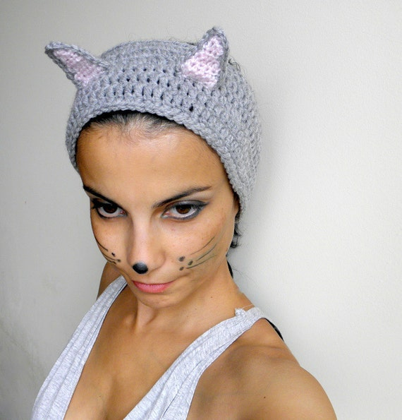 Crochet pattern cat woman headband, earwarmer, cat costume,  DIY photo tutorial, Instant download