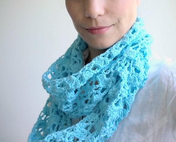 Crochet pattern Infinity women scarf, loop lace woman scarf,  PDF crochet pattern, DIY photo tutorial