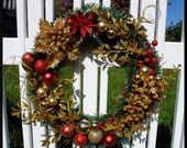 Shimmering Red and Gold Wreath
