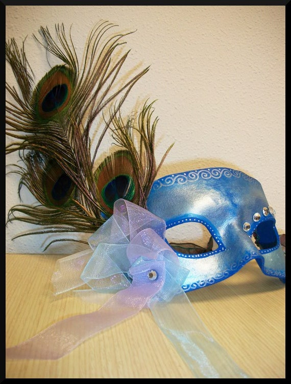 Leather Peacock Feather Masquerade Custom Mask