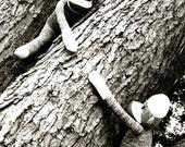 Sock Monkey Best Friends - Lend a Hand - Black and White 8x10 Photograph - Dorm Room, Retro, Nursery, Fun Art