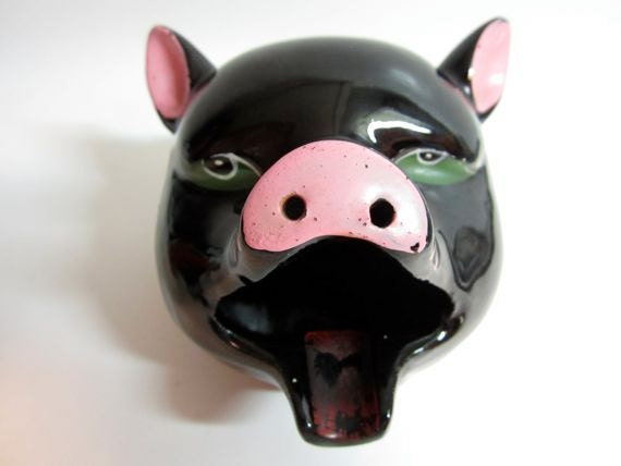 Vintage Ceramic Hand Painted Black Pig Face Ashtray Home Decor Mid Century Kitsch