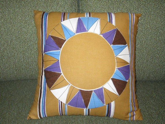 Vintage VERA Neumann Pillow Cover Handmade From Mid Century Napkins Modern Op Art Midcentury Black Blue Mustard Bullseye Pinwheel Home Decor