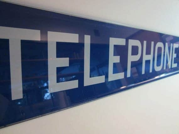 Vintage Glass Telephone Booth Blue Banner Sign
