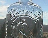 Antique HUMPHREYS VETERINARY medicine bottle w/ pic of HORSE pristine sparkling clean example.