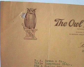 Dated 1920 paper letterhead from The OWL DRUG CO San Francisco w/ pic of Owl