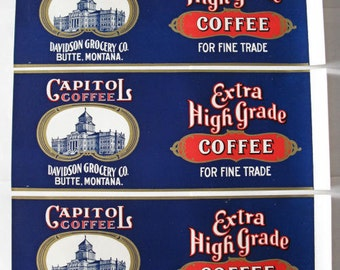 Lot of 3 Colorful Original Antique Capital COFFEE can or jar labels - Davidson Grocery - BUTTE MONTANA w/pic 1800's State Capital