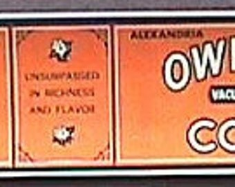 REPRODUCED Owl Blend COFFEE can label.   Faxsimile of rare Owl Drug Co. label.  REPRODUCTION.