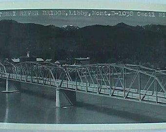 Original old unused Picture Post Card LIBBY MONTANA and KOOTENAI River.  Dome Mtn in background.