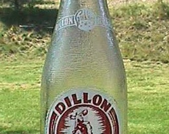Vintage DILLON MONTANA soda bottle w/ pic of COWBOY on bucking Bronco great Old West piece