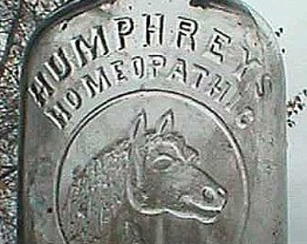 Antique HUMPHREYS VETERINARY medicine bottle w/ pic of HORSE - eraly hand blown bottle - late 1800's
