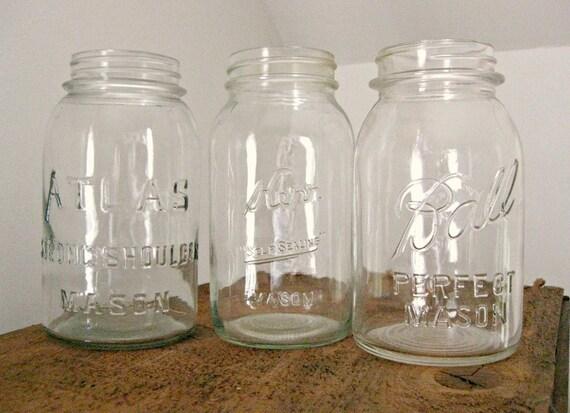 Mason Jars, Set of 3 Vintage Clear Mason Jars, Ball, Atlas, Kerr Trio, Quart Size Canning Jars