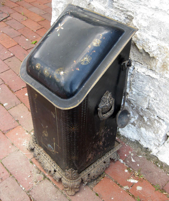 Antique Coal Bin Tole Coal Hod With Cast Iron Feet And Coal