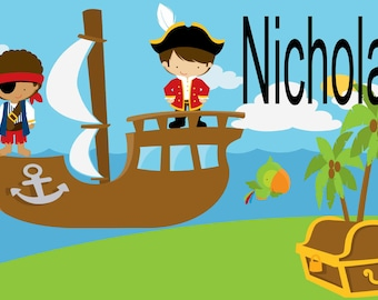 Personalized Pirate Placemat, Boys Laminated Placemat, Kids Table