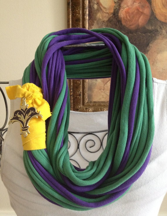 Long recycled/upcycled t shirt/jersey infinity scarf/necklace with yellow band and purple/gold fleur de lis type brooch/jewelry
