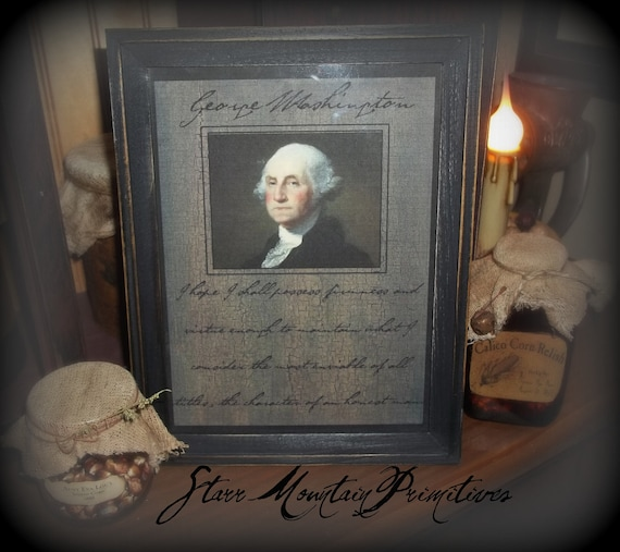 Colonial Primitive Americana George Washington Framed Quote Print  Picture