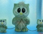 Vintage Ceramic Light Green Owl Family Trio