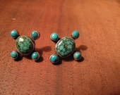 Reserved for Tessey2 vinage turquoise oval Native American Indian princess large post stud earrings