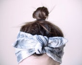 cotton gauze fabric, dyed blue, grey & white headband