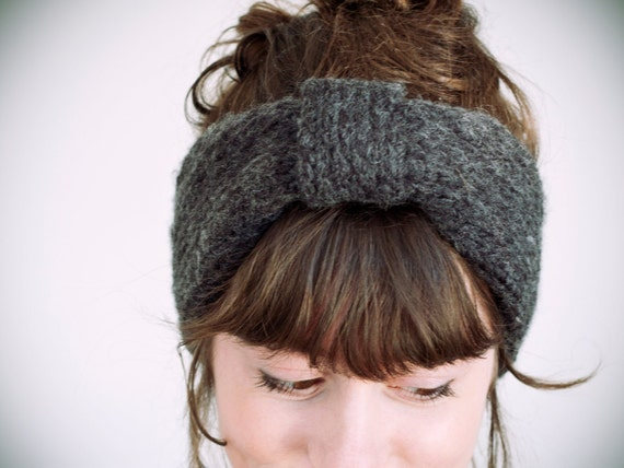 knitted charcoal wool & acrylic headband choose your color