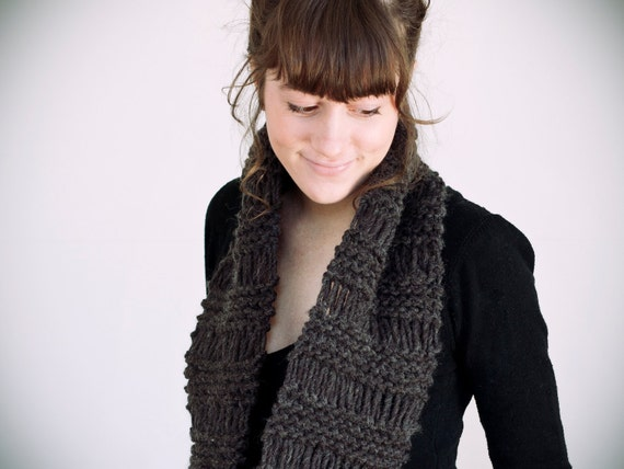 SALE knitted charcoal wool & acrylic circle scarf