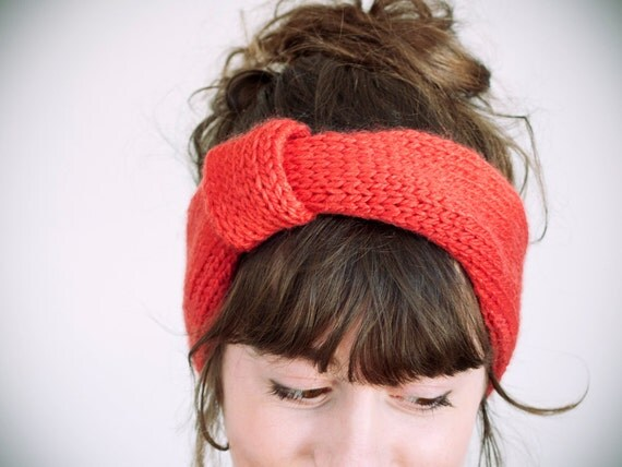 SALE knitted coral 100% acrylic headband