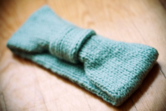 SALE, knitted sea green 100% acrylic headband
