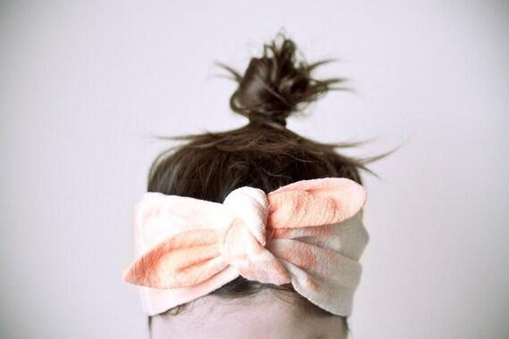 ON SALE 25% OFF / cotton gauze fabric, white & tangerine headband