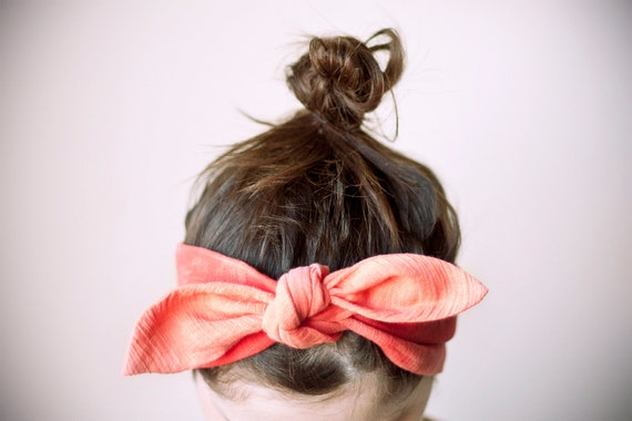 indian cotton fabric, dyed tangerine & coral headband