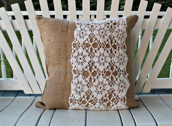 "floor cushion pillow coffee bag burlap with doily 23""x23"""