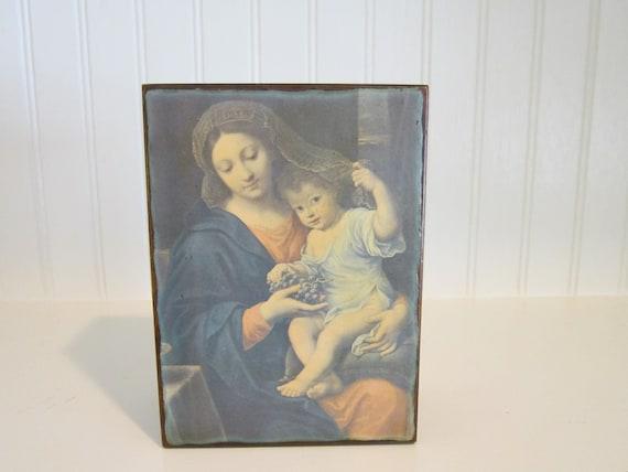 Vintage Wooden Jewelry Keepsake Box Religious Mary and Jesus
