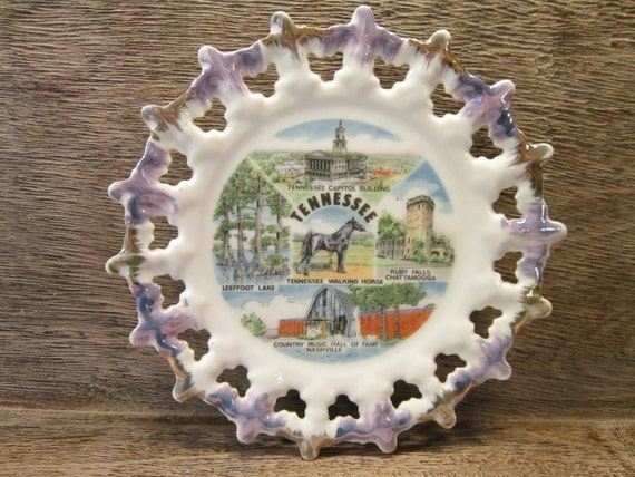 Vintage State of Tennessee Collectible Travel Souvenir Porcelain Plate Made in Japan