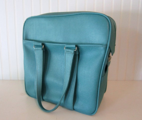 RESERVED For Lindsay...NeW PrIcE.....R E T R O.....Turquoise Aqua Blue Vinyl Samsonite Silhouette Carry on Luggage Weekend Bag Mad Men Chic