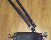 Heavy, soft black leather belt loop hip bag