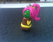 Chibi Polymer Clay Charm - Liddy Chibi Collection Green, Brown, Hot pink
