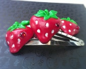 Strawberry Bling Adjustable Ring and hair clips -FREE SHIPPING